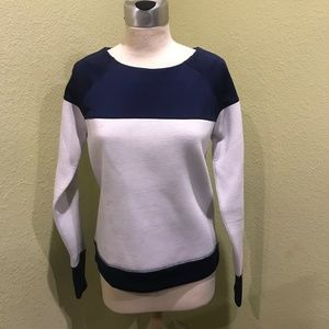 ATHLETA Fuse Pullover Scuba Sweatshirt Navy & Grey